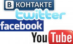 Vkontakte, Facebook, Twitter, Youtube